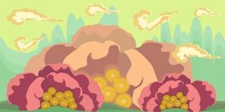 Le paysage sans couture de bande dessinée, dirigent le fond sans fin avec des couches de la terre et de ciel Illustration de Vecteur