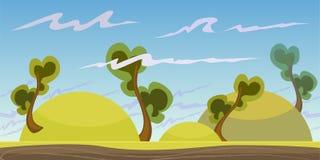 Le paysage sans couture de bande dessinée, dirigent le fond sans fin avec la terre, des roches, des nuages et des couches de ciel Illustration Libre de Droits