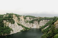 Le paysage scénique de nature de la vieille exploitation de roche dans le nom est Grand Canyon Chonburi à Pattaya, Thaïlande image libre de droits