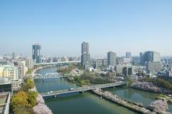 Le paysage urbain d'Osaka Photo stock