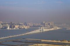 Le paysage urbain de pont et de Macao d'Amizade Photos libres de droits