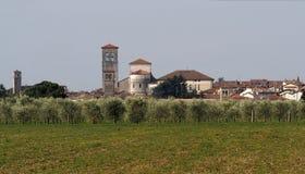 Le paysage urbain du secteur historique de Cividale del Friuli, patrimoine mondial de l'UNESCO, derrière les oliviers mettent en  images libres de droits