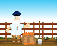 Le paysan creuse la carotte illustration de vecteur