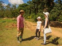 Le paysan cubain parle avec les touristes dans la vallée CUB de Vinales photo libre de droits