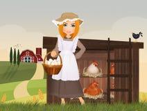 Le paysan prend des oeufs dans la maison de poule illustration libre de droits
