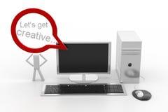 Le PC de bureau avec Lets obtiennent la bulle créative Photo stock