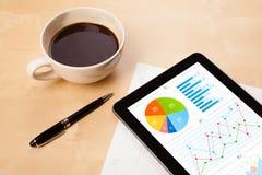 Le PC de comprimé montre des diagrammes sur l'écran avec une tasse de café sur un bureau Image libre de droits