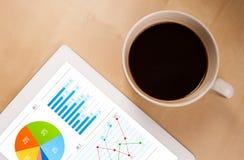 Le PC de Tablette montre des diagrammes sur l'écran avec une tasse de café sur un bureau Photographie stock libre de droits