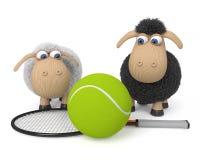 le pecore dell'illustrazione 3d giocano a tennis Fotografia Stock