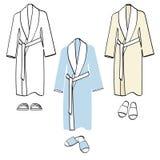 Le peignoir classique de coton a placé dans la couleur blanche, bleue et beige, illustration d'ensemble Image libre de droits