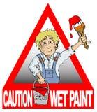 Le peintre situé dans une triangle rouge tenant une brosse et la peinture bucket Images libres de droits