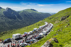 Le Peloton en montagnes - Tour de France 2016 Image stock