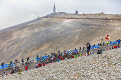 Le Peloton sur Mont Ventoux Images stock