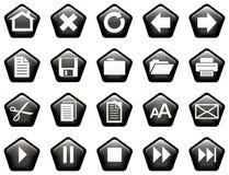 Le Pentagone a formé le noir vitreux de boutons Photographie stock libre de droits