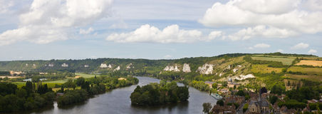 Le Pequeno Andely - panorama Imagens de Stock Royalty Free