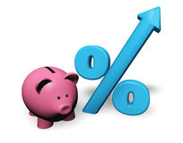 Le percentuali crescenti di Piggybank Immagini Stock Libere da Diritti