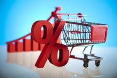 Le percentuali del carrello di acquisto Immagini Stock
