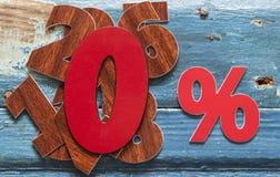 le percentuali del segno sulla tavola di legno Fotografia Stock