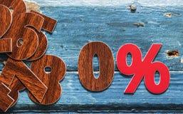 le percentuali del segno sulla tavola di legno Fotografia Stock Libera da Diritti