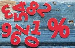 le percentuali del segno sulla tavola di legno Immagini Stock Libere da Diritti