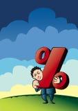 Le percentuali della holding dell'uomo d'affari illustrazione di stock