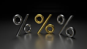le percentuali dorate 3D Fotografia Stock Libera da Diritti