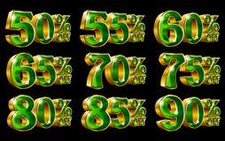 Le percentuali fuori dalle illustrazioni dell'oro 3D di sconto illustrazione di stock