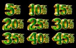 Le percentuali fuori dalle illustrazioni dell'oro 3D di sconto illustrazione vettoriale