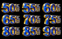 Le percentuali fuori dalle illustrazioni dell'oro 3D di sconto royalty illustrazione gratis