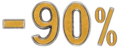 Le percentuali fuori sconto Meno 90, novanta, la percentuale Numero del metallo Immagine Stock