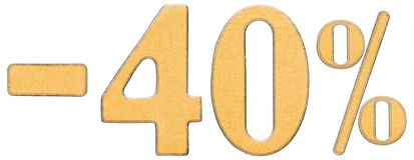 Le percentuali fuori sconto Meno 40 quaranta per cento, numeri isolati Immagini Stock Libere da Diritti