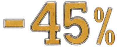 Le percentuali fuori sconto Meno 45, quarantacinque, le percentuali Metallo numerico Fotografia Stock