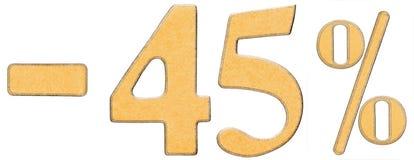 Le percentuali fuori sconto Meno 45 quarantacinque per cento, iso di numeri Fotografie Stock Libere da Diritti