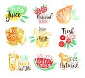 Le percentuali Juice Promo Signs Colorful Set fresco illustrazione di stock