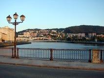 Le periferie della città di Pontevedra spain Paesaggio della foresta e panorama della spiaggia intorno alla città fotografia stock libera da diritti