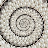 Le perle ed i gioielli dei diamanti sottraggono il frattale a spirale del modello del fondo Imperla il fondo, modello ripetitivo  Immagini Stock