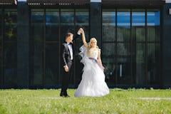 Le persone appena sposate baciano sotto un velo sul salice del fondo immagine stock