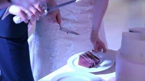 Le persone appena sposate hanno un il dolce sul piatto video d archivio