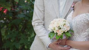 Le persone appena sposate si abbracciano e si godono di sul loro giorno delle nozze stock footage