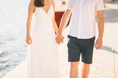 Le persone appena sposate si tengono per mano Coppia le mani della holding Nozze in Monte Fotografia Stock Libera da Diritti