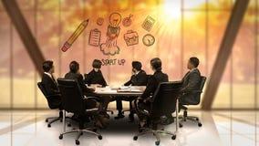 Le persone di affari che esaminano la rappresentazione futuristica dello schermo iniziano sul simbolo stock footage