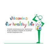 Le personnage de dessin animé mangent la bannière saine de la vie de vitamines avec l'espace de copie Photos libres de droits
