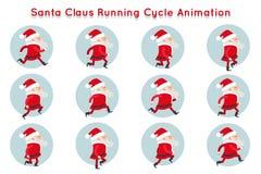 Le personnage de dessin animé mignon de Santa Claus Funny Running Cycle Animation encadre l'illustration de vecteur illustration de vecteur