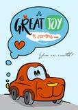 Le personnage de dessin animé rouge de voiture/grande joie est prochaine carte Image stock