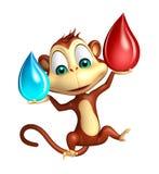 Le personnage de dessin animé de singe d'amusement avec la baisse de sang et l'eau chutent Image stock