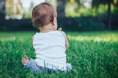 Le petit bébé s'asseyant dans l'herbe verte soutiennent de l'appareil-photo photographie stock libre de droits