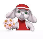 Le petit caractère drôle d'éléphant tenant des fleurs dans des mains 3d les déchirent Photo stock