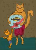 Le petit chat obtient un cadeau de son père Images libres de droits