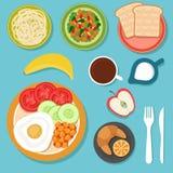 Le petit déjeuner mangeant de la nourriture et les boissons sur la vue supérieure de table dirigent l'illustration illustration libre de droits