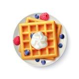 Le petit déjeuner Waffles image réaliste de vue supérieure illustration stock